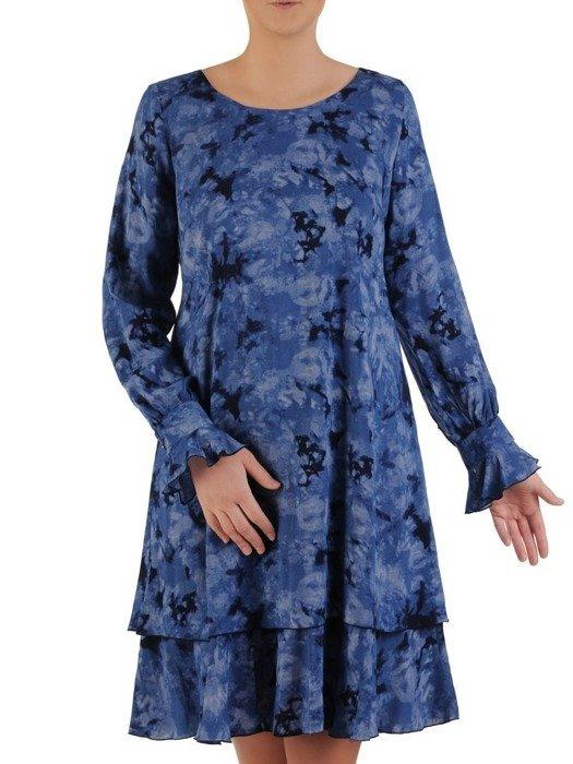 Sukienka o trapezowym kroju, kreacja w ciekawym wzorze 25078