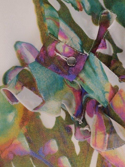 Sukienka o trapezowym kroju, kreacja w kwiaty 25280