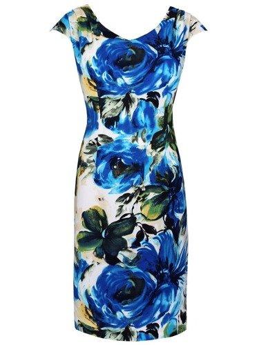Sukienka w chabrowe kwiaty Regina, zwiewna kreacja na lato.