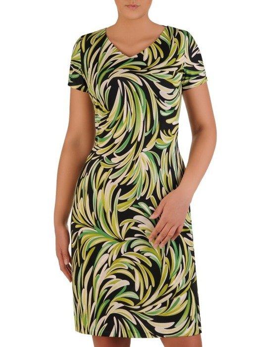 Sukienka w ciekawy wzór, prosty fason z dekoltem w serek 25965