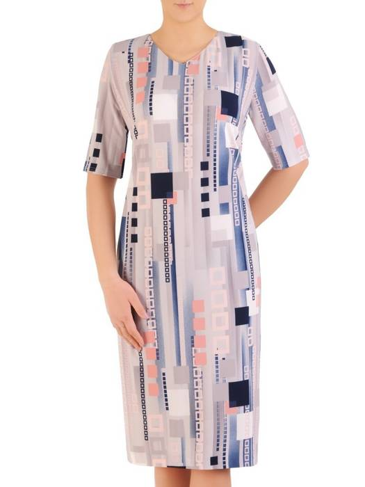 Sukienka w ciekawy wzór, prosty fason z dekoltem w serek 29394