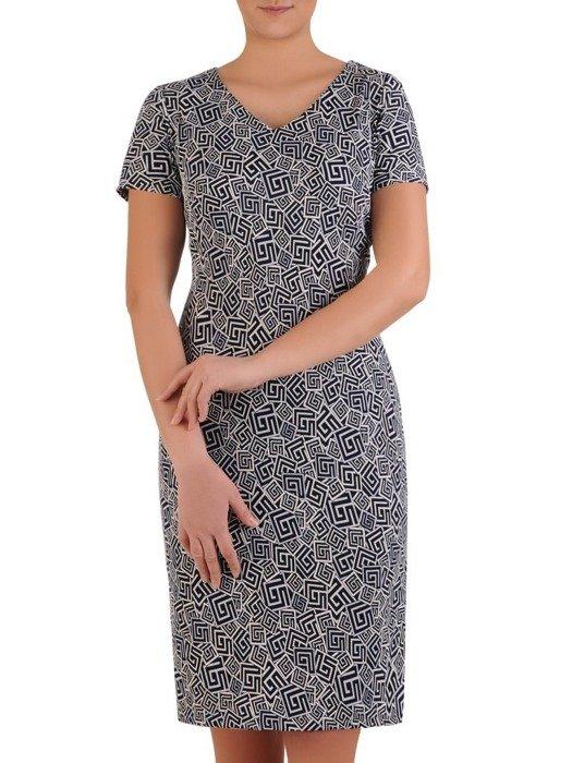Sukienka w geometryczny wzór, prosty fason z dekoltem w serek 25725