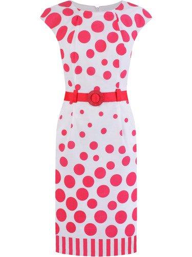 Sukienka w groszki Ryma II, wiosenna kreacja z paskiem.