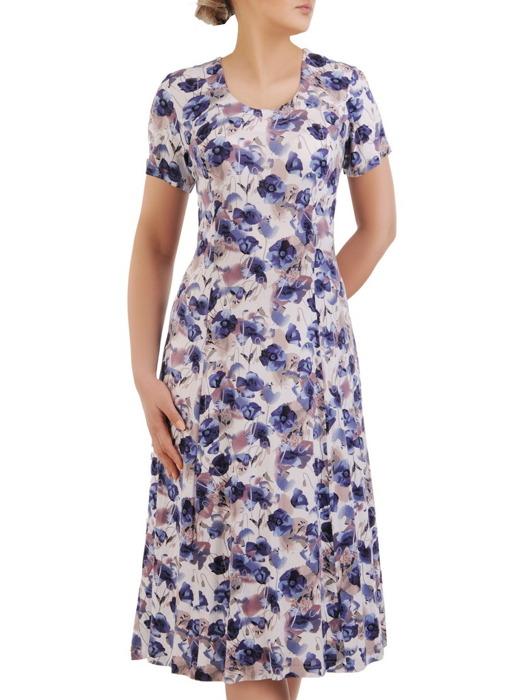 Sukienka w kwiaty, dzianinowa kreacja w długości midi 20680.