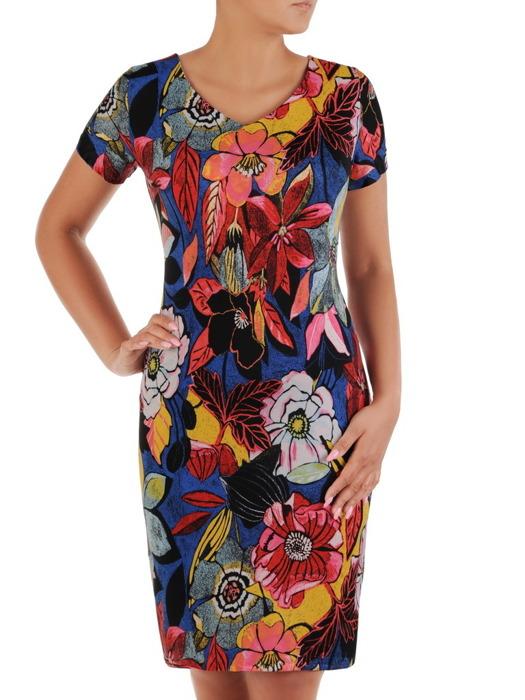 Sukienka w kwiaty, letnia kreacja z dzianiny 21140.