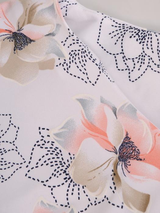 Sukienka w kwiaty, prosty fason z dekoltem w serek 21731.