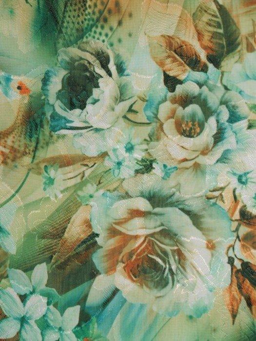 Sukienka w kwiaty, wiosenna kreacja z ozdobnymi rękawami 25789