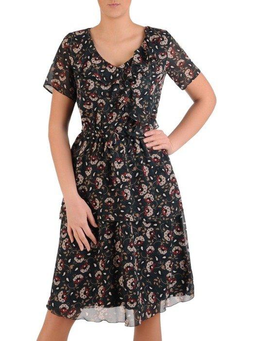 Sukienka w kwiaty, zwiewna kreacja z falbanami 25666