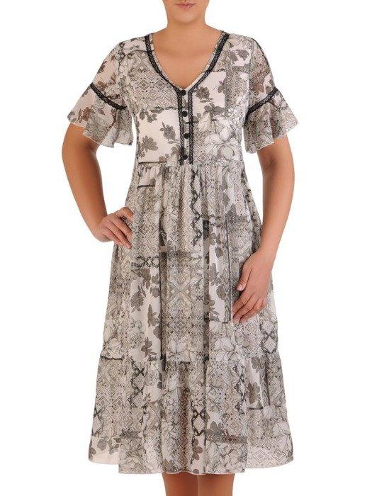Sukienka w luźnym fasonie, zwiewna kreacja z szyfonu 26156