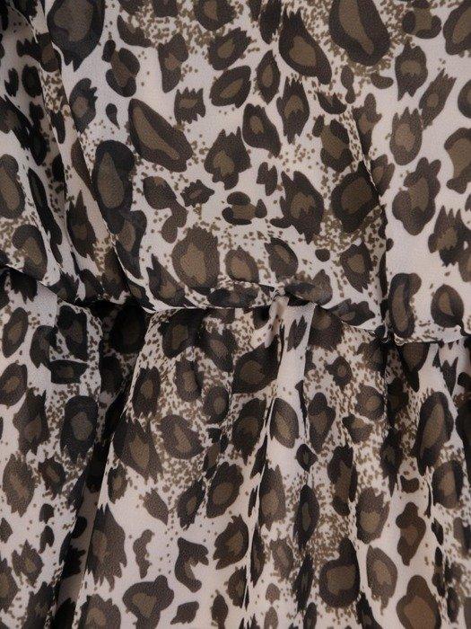 Sukienka w panterkę, rozkloszowana kreacja kopertowa 25944