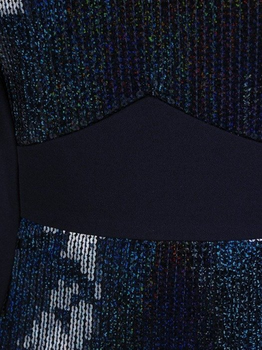 Sukienka wieczorowa, granatowa kreacja z cekinami 25972