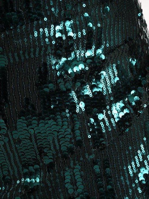 Sukienka wieczorowa, kopertowa kreacja z cekinów 25604