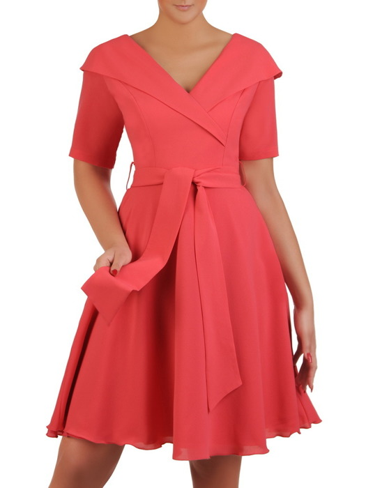 Sukienka wizytowa, koralowa kreacja z tkaniny 21268.