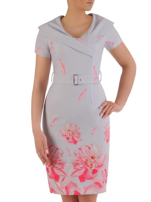 Sukienka wizytowa, wiosenna kreacja z paskiem podkreślającym talię 20914.