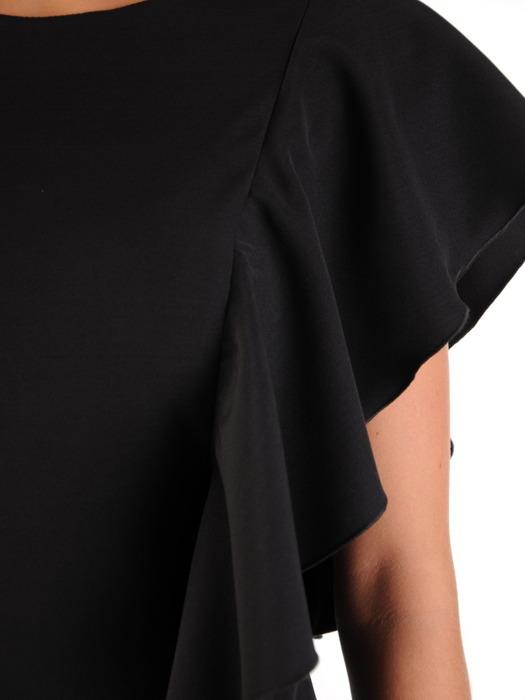 Sukienka wyjściowa, czarna kreacja z ozdobną falbaną 22222.