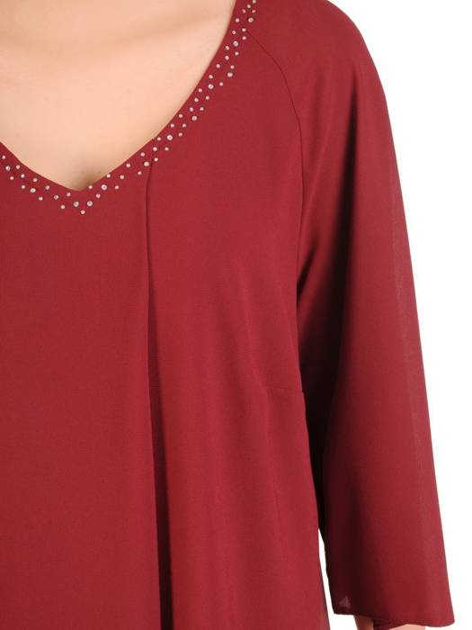 Sukienka wyjściowa, wiśniowa kreacja w asymetrycznym fasonie 29951