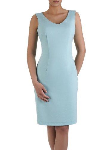 Sukienka wyszczuplająca 2w1 15944, prosta kreacja z luźną, szyfonową narzutką.