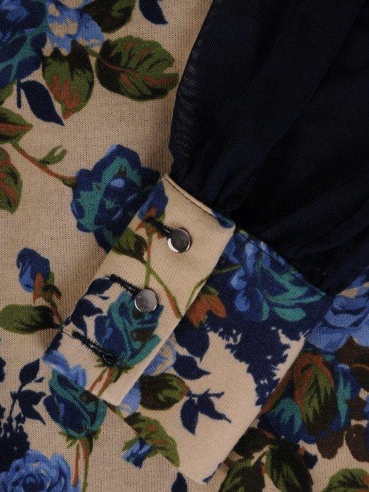 Sukienka z bufiastymi, tiulowymi rękawami 17981, jesienna kreacja w kwiaty.