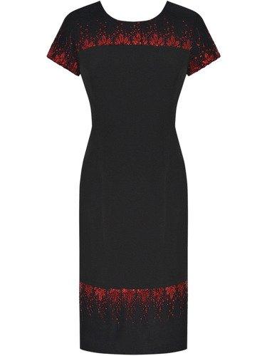 Sukienka z cekinowym wzorem Danuta, kreacja wieczorowa z błyszczącą aplikacją.