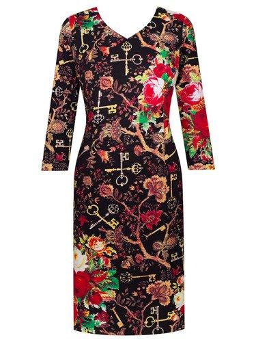 Sukienka z dzianiny Iwona, jesienna kreacja w kwiaty.