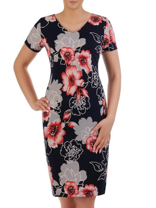 Sukienka z dzianiny, granatowa kreacja w kwiaty 20966.
