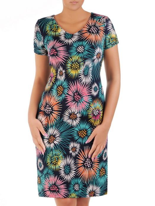 Sukienka z dzianiny, letnia kreacja w kwiaty 21654.