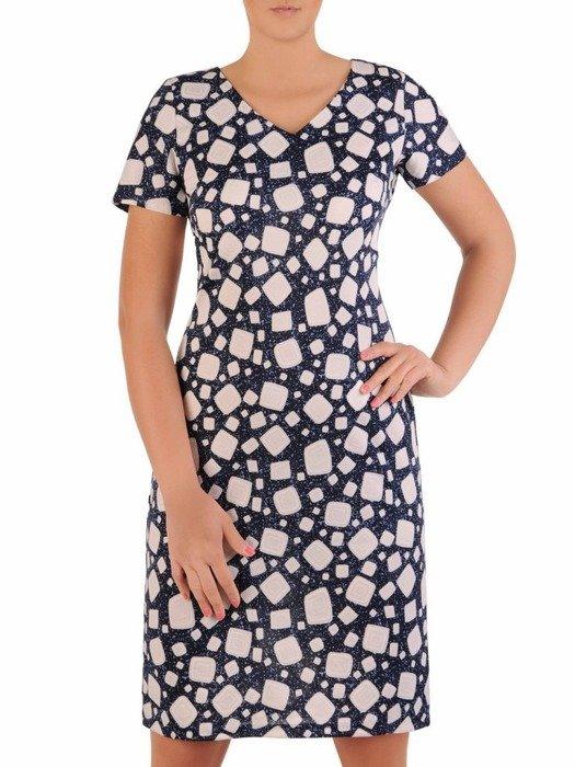 Sukienka z dzianiny, prosta kreacja w oryginalnym wzorze 26207