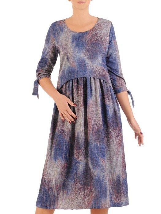 Sukienka z dzianiny, wizytowa kreacja w luźnym fasonie 26789