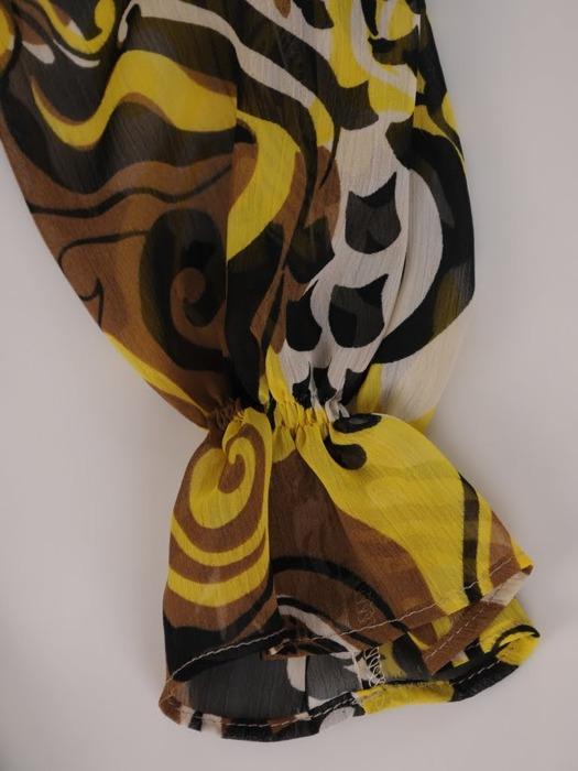 Sukienka z falbanami, zwiewna kreacja z szyfonu 21087.