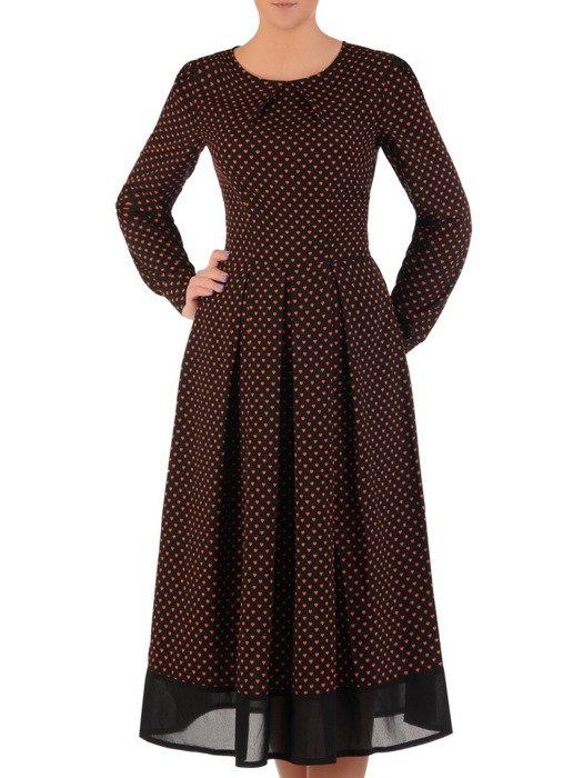 Sukienka z geometrycznym motywem Margareta II, szykowna kreacja z kontrafałdami.