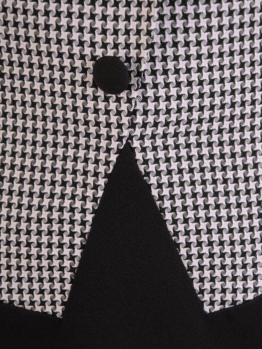 Sukienka z imitacją żakietu, prosta kreacja z ozdobnym kołnierzem 25387