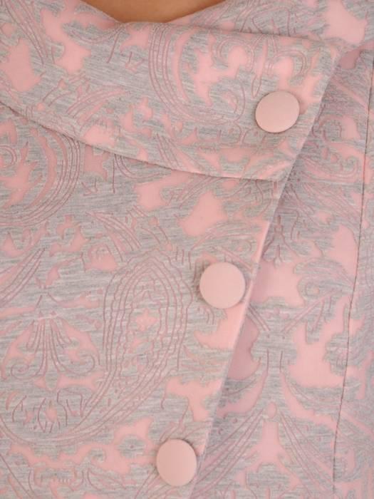 Sukienka z imitacją żakietu, prosta kreacja z ozdobnym kołnierzem 28328