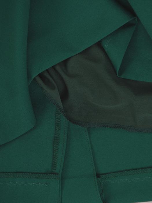 Sukienka z koronkowymi wstawkami, zielona kreacja z kołnierzem 22078
