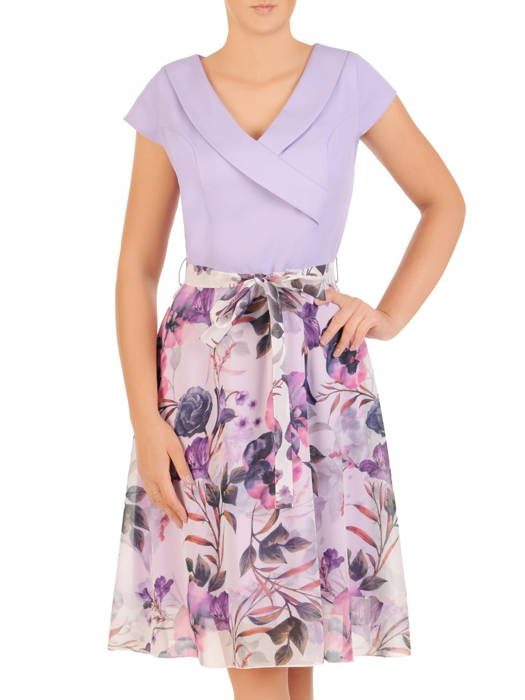 Sukienka z modnym kołnierzem, kreacja z szyfonowymi dołem 30577