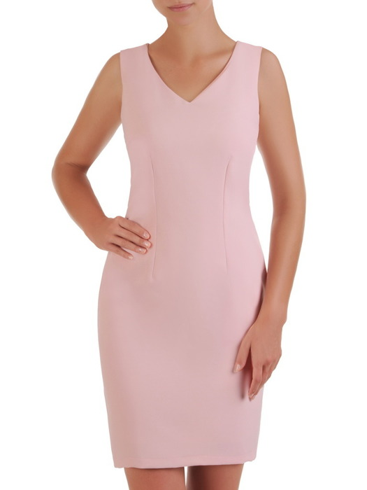 Sukienka z modnym wycięciem na plecach, pudrowa kreacja koktajlowa 21479