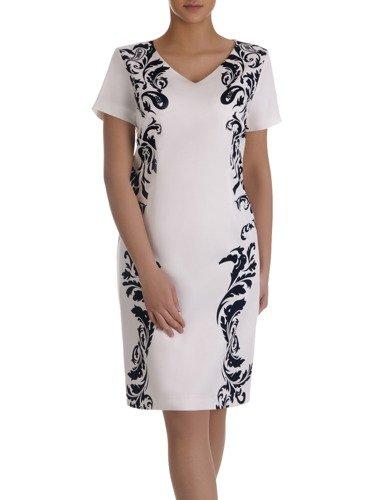 Sukienka z ornamentem Leokadia, wiosenna kreacja modelująca figurę.