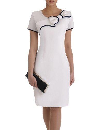 Sukienka z ozdobną kokardą Żaklina II, elegancka kreacja koktajlowa.