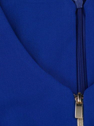 Sukienka z ozdobnymi zamkami Emilia XIII, piękna kreacja w kolorze chabrowym.