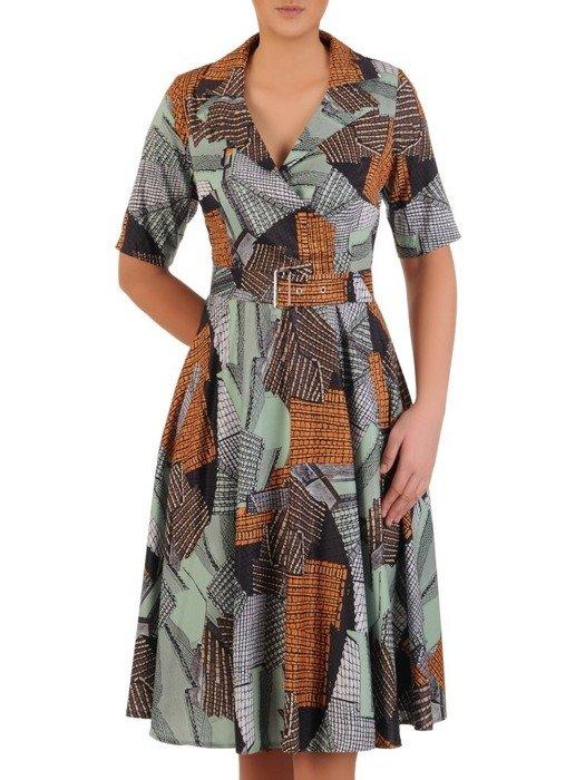 Sukienka z paskiem, wiosenna kreacja w modnym wzorze 25029