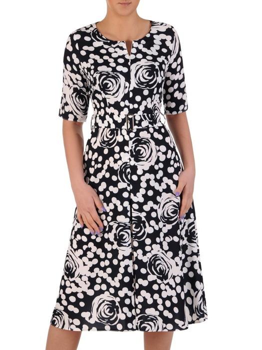 Sukienka z suwakiem na dekolcie, wiosenna kreacja w grochy i kwiaty 20147.