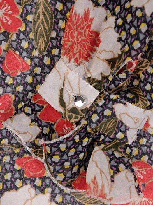 Sukienka z szyfonu, luźna kreacja w kwiaty 25626