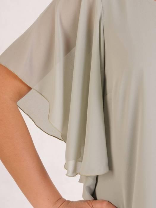 Sukienka z szyfonu, szara kreacja w luźnym fasonie 29035