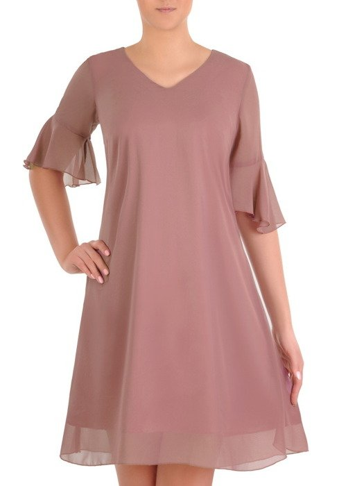 Sukienka z szyfonu, wrzosowa kreacja w luźnym fasonie 19786.