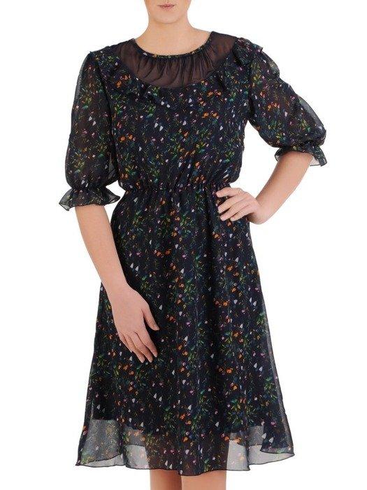 Sukienka z szyfonu, zwiewna kreacja z falbanami 25841