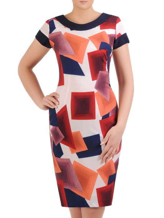 Sukienka z tkaniny, prosta kreacja w geometrycznym wzorze 20655.