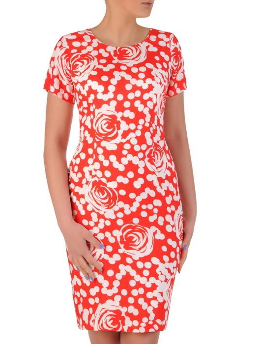 Sukienka z tkaniny, prosta kreacja w kwiaty i grochy 20290.