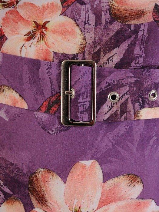 Sukienka z tkaniny, prosta kreacja w kwiaty z ozdobnym kołnierzem 24561