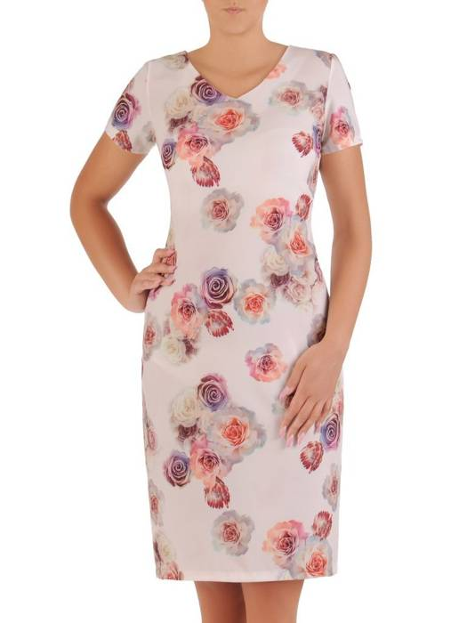 Sukienka z tkaniny, prosta kreacja w oryginalnym wzorze 26492