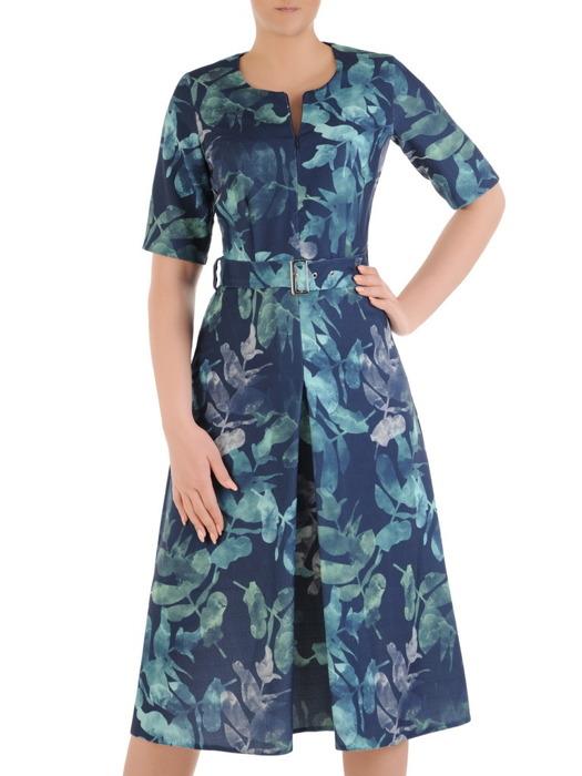 Sukienka z tkaniny, wiosenna kreacja z suwakiem na dekolcie 20773.