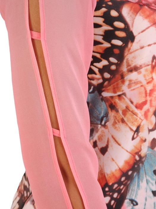 Sukienka z wzorzystego szyfonu, kreacja z ozdobnymi rękawami 21735